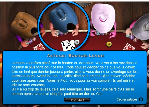 Astuces Governor of poker